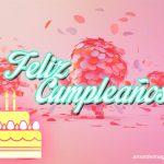 imagen de cumpleaños con fondo rosado