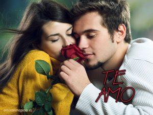 Imagenes con la frase te amo pareja con rosa