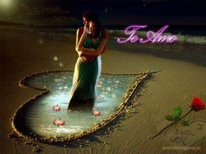 Imagenes con la frase te amo en la playa