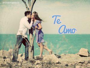 Imagenes con la frase te amo y pareja besándose