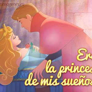Hermosa princesa aurora de la bella durmiente con una frase linda de amor.