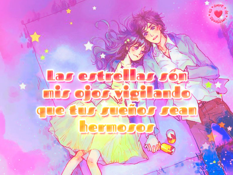 Bonita imagen de anime con mensaje de amor de buenas noches