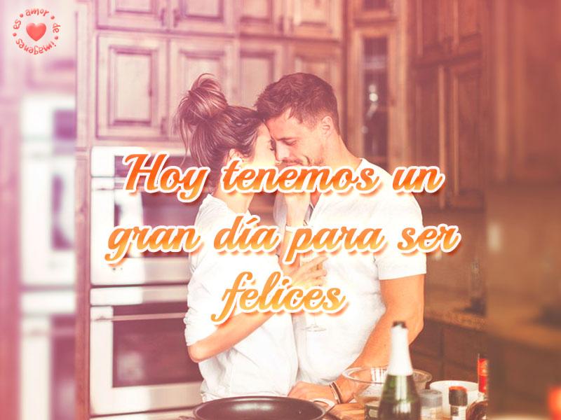 Hermosa imagen de pareja con frase de buenos días