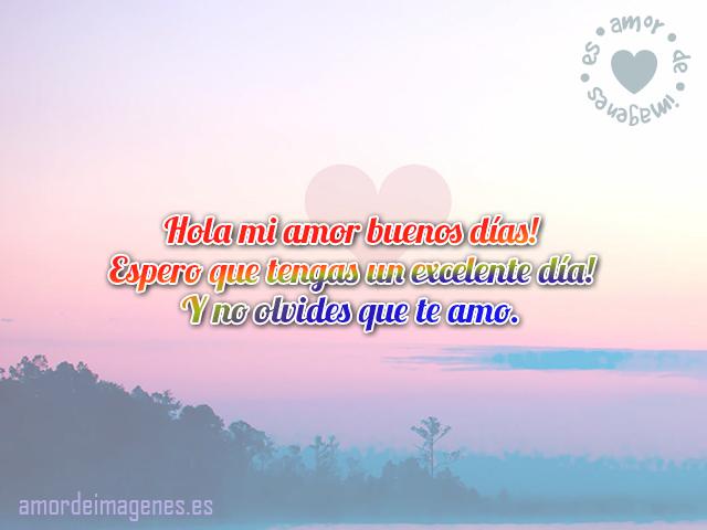 Hola mi amor buenos días! Espero que tengas un excelente día! Y no olvides que te amo.
