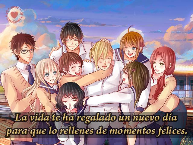 Imagen de grupo de amigos abrazados frases de felicidad