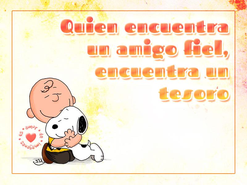 Imagen de Snoopy y Charlie Brown con frase de amigo fiel