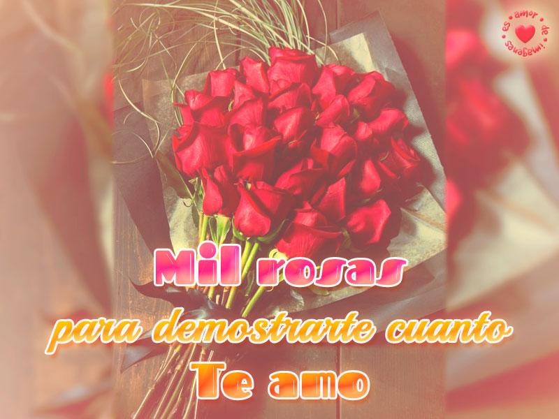 Lindo bouquet de rosas con frase de amor