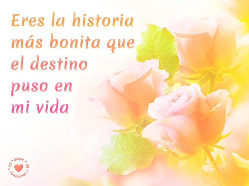 Lindo mensaje de amor con imagen de rosas