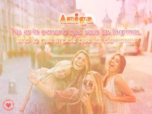 Lindo pensamiento de amistad con bonita foto de amigas