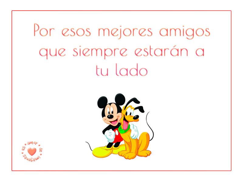 Mensaje de mejores amigos con imagen de Mickey y Pluto abrazados