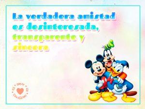 Mickey, Donald y Goofy junto a hermoso mensaje de amistad