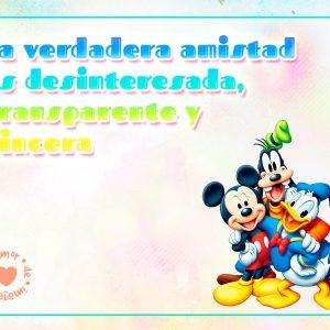 Mickey, Donald y Goofy con Hermoso Mensaje de Amistad