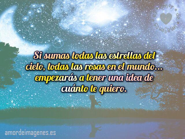 Si sumas todas las estrellas del cielo, todas las rosas en el mundo... empezarás a tener una idea de cuánto te quiero