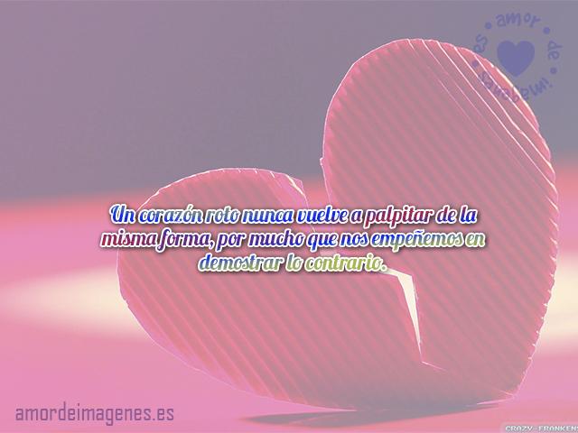 Un corazón roto nunca vuelve a palpitar de la misma forma, por mucho que nos empeñemos en demostrar lo contrario.