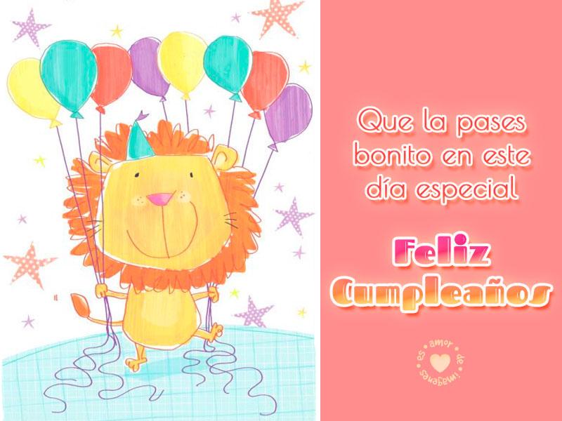 Tarjeta de feliz cumpleaños con león