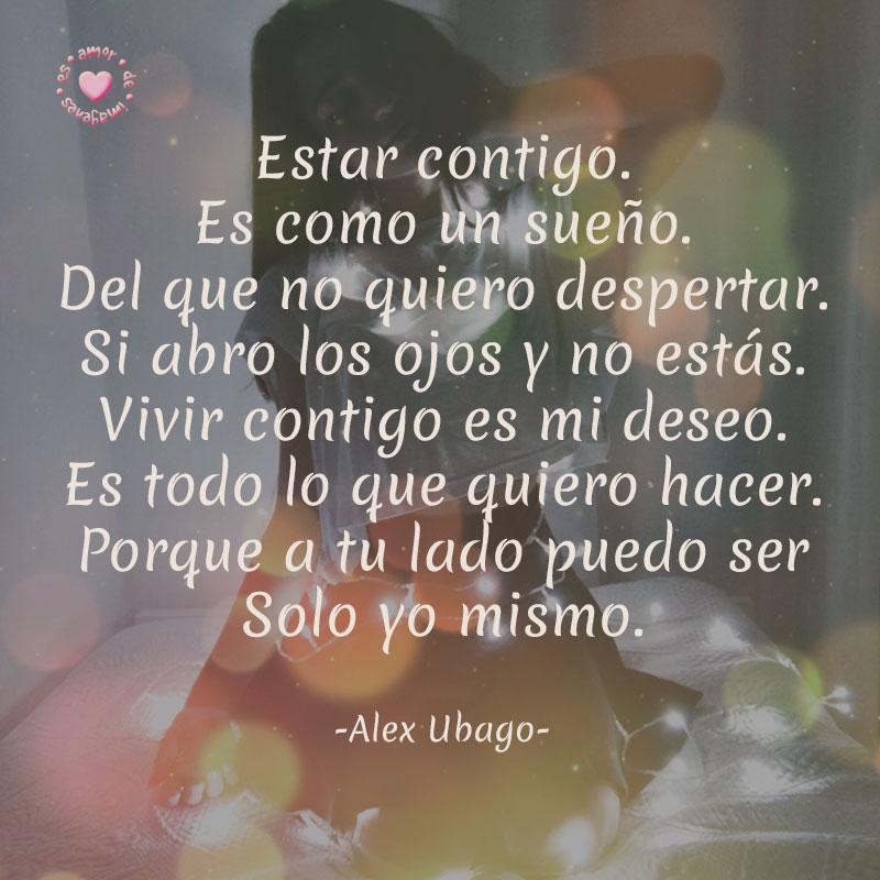 bonita frase de amor de Alex Ubago con bello fondo para