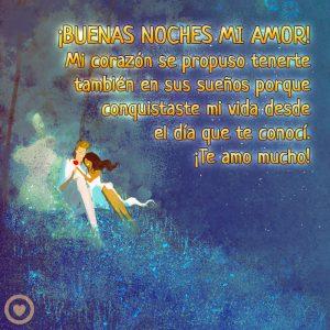 bonita imagen con mensaje buenas noches mi amor