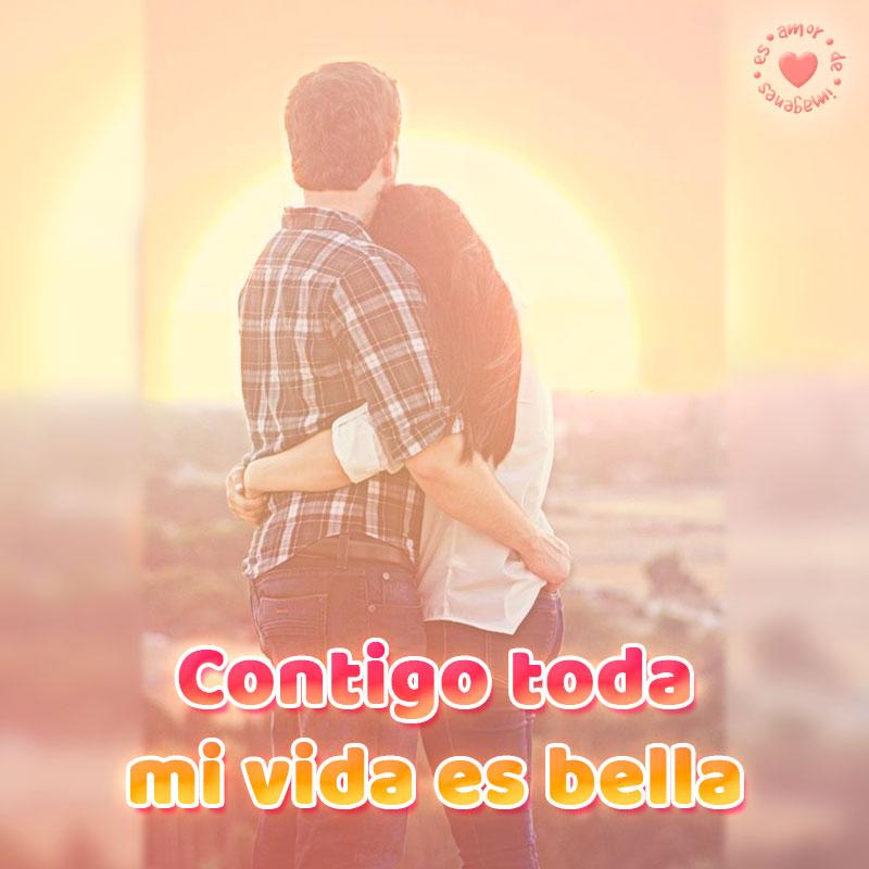 bonita imagen de pareja abrazándose con frase de amor