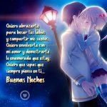 bonita imagen de pareja anime con frase de buenas noches