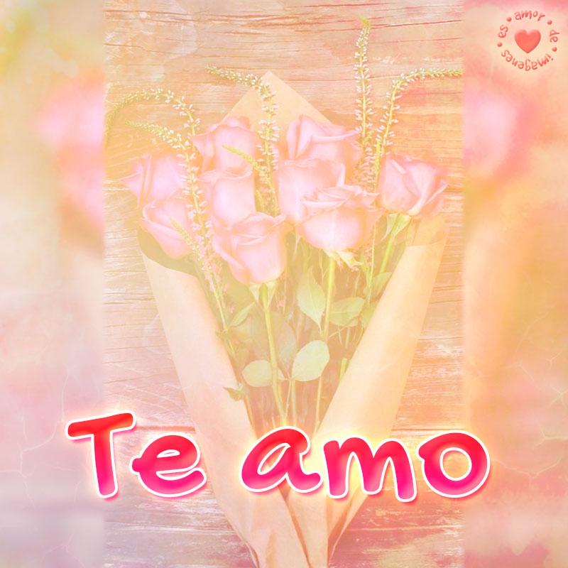 bonita imagen de rosas con frase te amo
