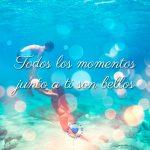 bonita imagen en el agua con frase de amor