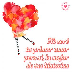 bonita tarjeta de corazones rojos y rosados con frase de amor