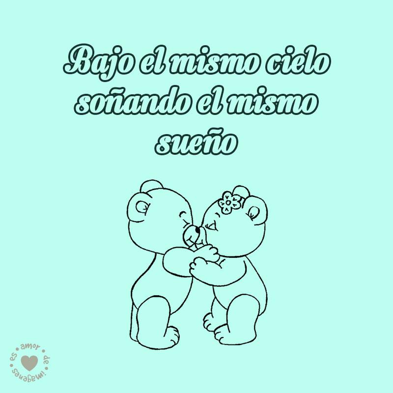 bonito dibujo de ositos besándose con frase de amor