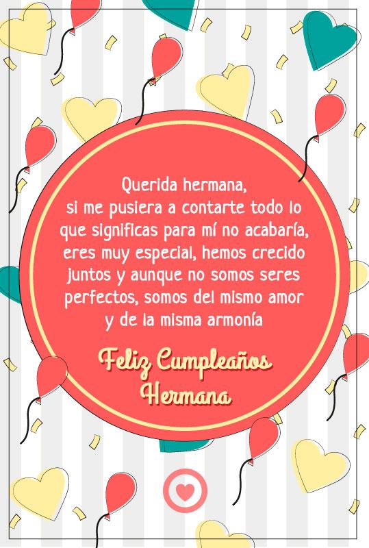 bonito mensaje de cumpleaños para mi hermana