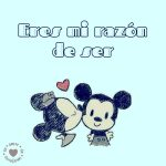 dibujo de Mickey y Minnie con frase de amor