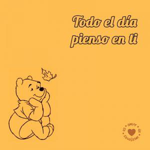 dibujo de Winnie Pooh con frase de amor