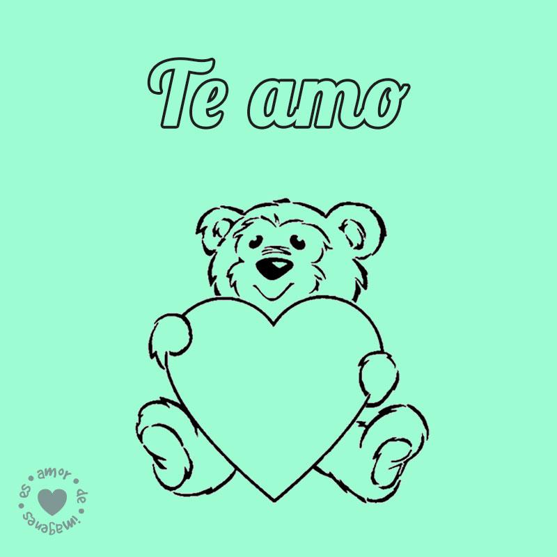 dibujo de oso con frase te amo