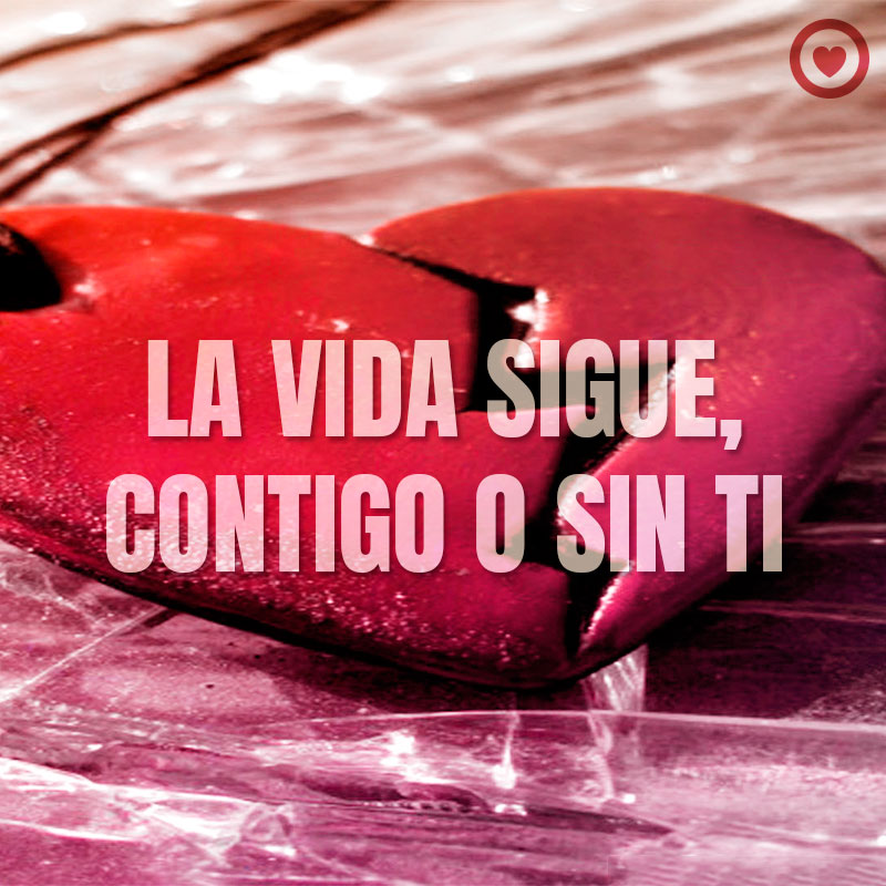 Frase La Vida Sigue Con Imagen Corazon Roto