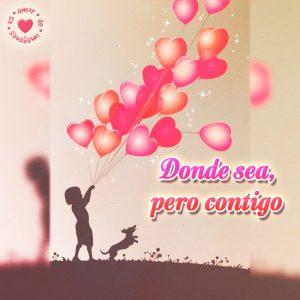 hermosa postal de corazones con frase corta de amor