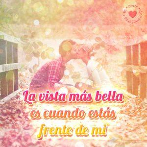 imagen de pareja besándose en un puente con frase