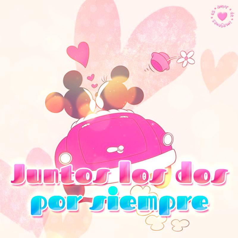 linda imagen de Mickey y Minnie con corta frase de amor