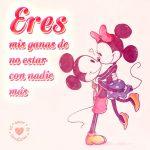 linda imagen de Mickey y Minnie con frase