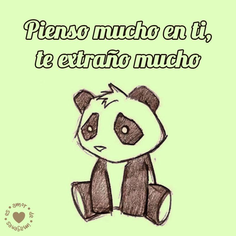Lindo Dibujo De Panda Con Frase De Te Extrano