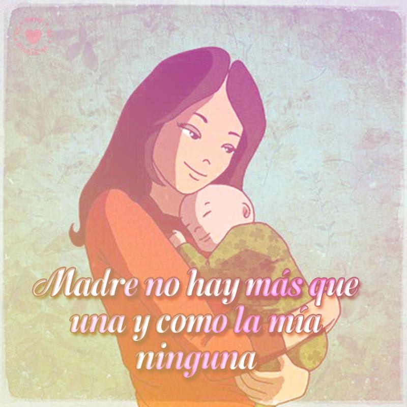 dibujo de madre y frase dia de la madre