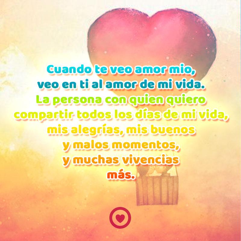 Pareja En Globo De Corazon Con Frase De Amor Larga