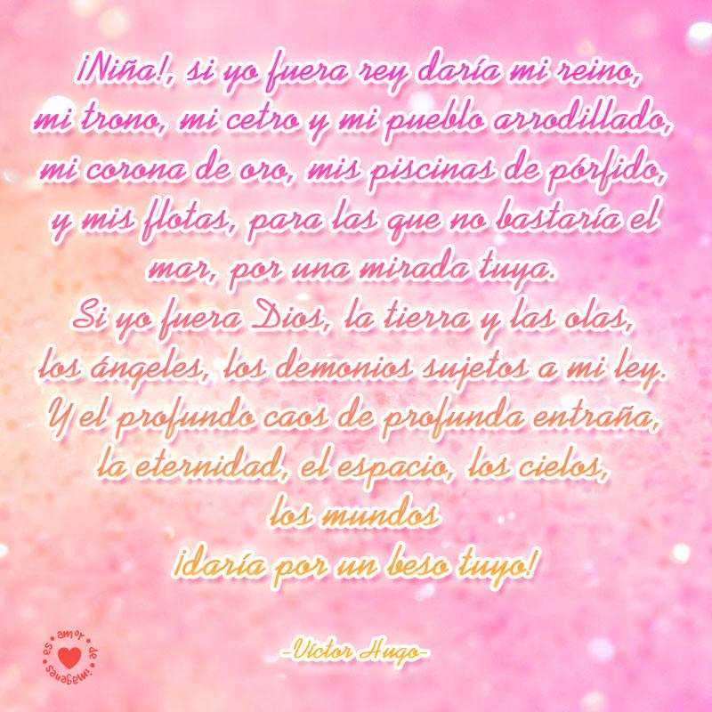 poema de amor de Victor Hugo con un bello fondo rosado