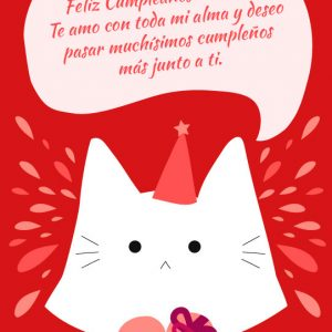 tarjeta de cumpleaños de amor con gato