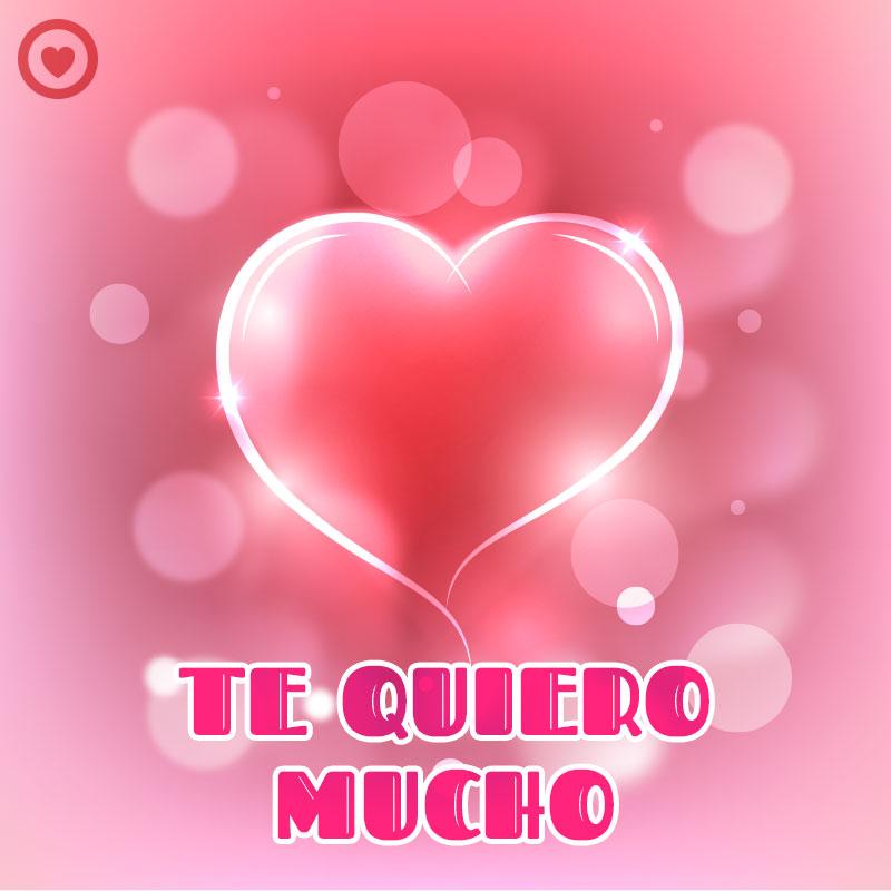 bonita imagen de amor con corazón rojo y frase te quiero mucho