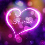 bonito corazón con luces con frase te amo