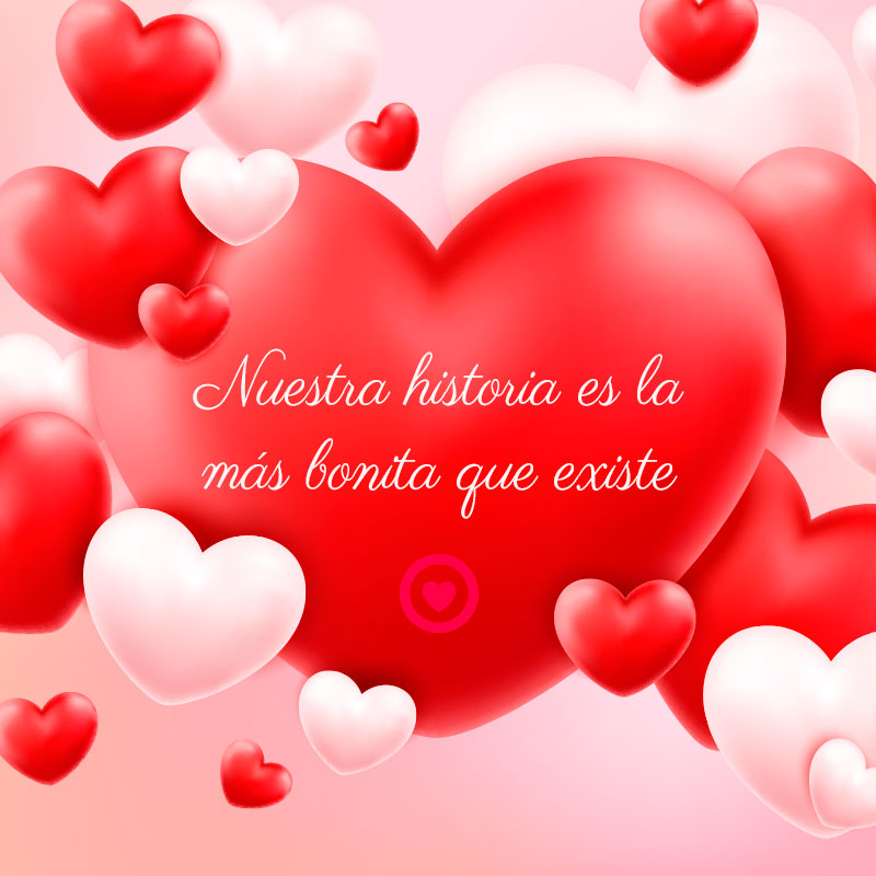 bonito corazón rojo 3d con frase de amor