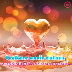corazón 3d con frase de amor corta