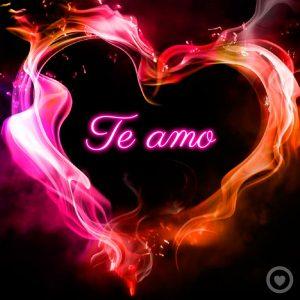 frase de te amo con imagen de corazón 3d