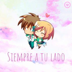 linda tarjeta de amor con pareja kawaii