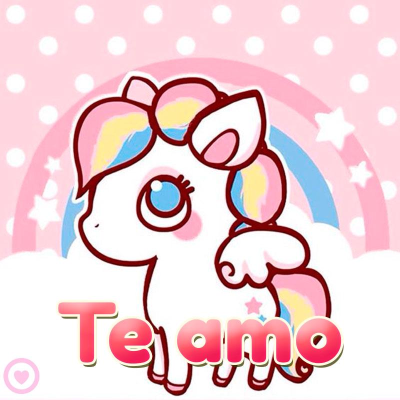 imagen kawaii unicornio te amo