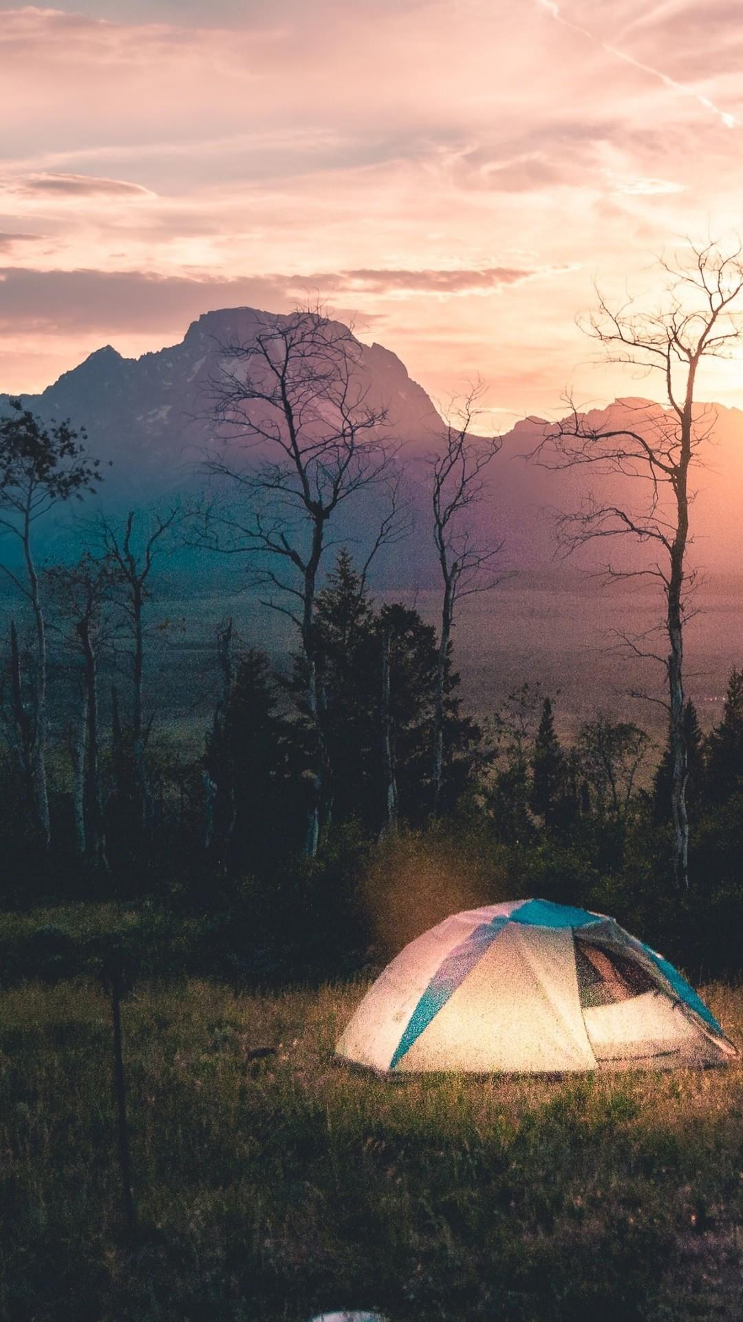 fondo para celular de atardecer acampando