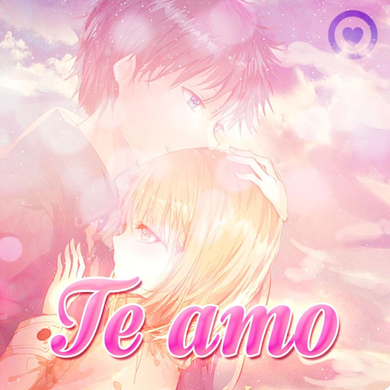 Hermosa imagen de anime de amor con frase te amo